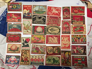 Lot # 55 China and/ or Japan Matchbox All Single Labels about 100 Years Old