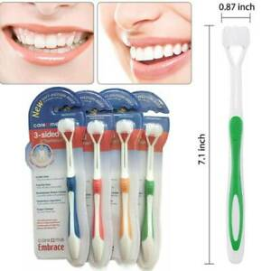 4x Adult Child Tooth Brush Three Head 3 Sided Toothbrush Ultrafine Easy to Use