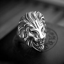 Hot Biker Men's Vintage Casting Black Silver Stainless Steel Lion Head Ring Band