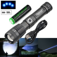 Tactical Zoomable XHP50 LED Rechargeable Flashlight Torch+18650 Battery&Charger