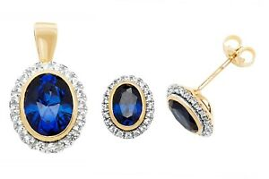 Sapphire Pendant and Earrings Set Solid 9k Yellow Gold White sapphire Hallmarked
