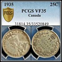 1935 Silver Canada 25 Cents PCGS VF35 Very Fine Quarter Dollar 25c Classic Coin
