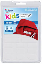 Avery Fabric Labels Kids Writeable Assorted 45ct No Iron Washer Dryer Safe