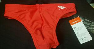"Mens Young Mens Speedo Solar 1"" Cut Brief / Bikini Swimsuit Red 30 wvwvwv r136"