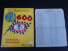 VINTAGE NASCAR 1962 3RD ANNUAL CHARLOTTE MOTOR SPEEDWAY WORLD 600 PROGRAM