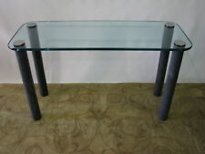 Rare PACE Console / Sofa Table by Leon Rosen; Marbilized Legs & Heavy Glass Top