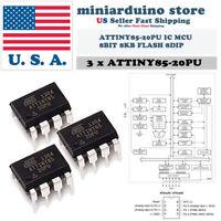 3PCS Atmel Original ATTINY85-20PU IC MCU 8BIT 8KB FLASH 8DIP Top ATTINY85