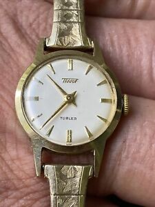 VNTG CH.'S TISSOT TURLER 15 J. Ladies Watch 14K Solid Yellow Gold Swiss ACCURATE