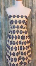 JCREW strapless dress 100% cotton blue/ivory 6/ fully lined/pockets