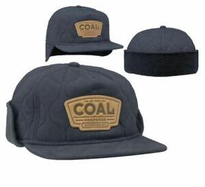 Coal Headwear THE CUMMINS Unisex Quilted Earflap Hat Medium Charcoal NEW