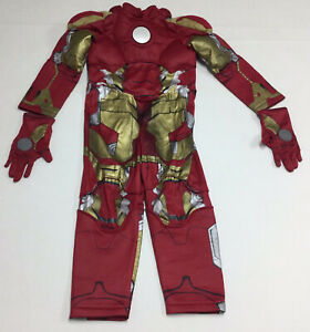 Marvel Avengers Disney Store Boys Ironman Muscle Halloween Costume Size 4 Gloves