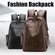Men Women Leather Backpack School Shoulder Bag Travel Rucksack Laptop Satchel