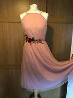 ASOS Dusky Pink Size 10 Special Occasion Dress Strappy Sheer Net Lined Very Full
