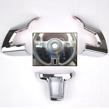 3PC FOR VW GOLF MK6 2011-14 POLO JETTA STEERING WHEEL CHROME INSERT TRIM COVER
