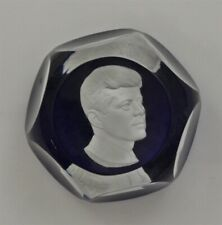 Limited Edition Blue Faceted BACCARAT Crystal JOHN F. KENNEDY Paperweight & Box