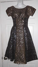 Vintage Lazarus of Roanoke Silver & Black Party Dress 1960's DN