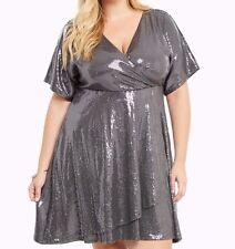 Torrid Sequin Surplice Faux Wrap Dress Gray 0X Large 12 0 #24815