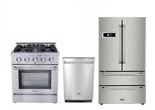 """Thor Kitchen 30"""" Gas Range, 24"""" Dishwasher & 36"""" Refrigerator 3-Piece Pkg"""