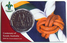 2008 - 100th Centenary of Scouts Australia 50 Cent carded coin - Mintage 54,571