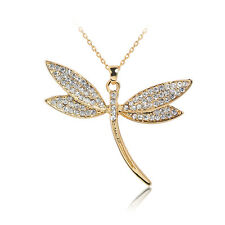 Charming Women Girl 18K Gold Filled Crystal Dragonfly Pendant Chain Necklace Hot