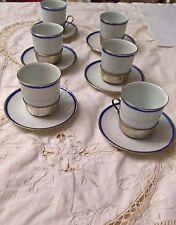 Servizio da caffè da 6 in fine porcellana Bavaria e tazzine in base in argento