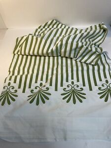 Montgomery Ward Style House Vintage 1 Double Fitted Sheet Used Green Stripes
