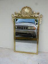 Vintage Decorative Arts Brass / Bronze Mirror W Shell Pediment