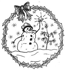 Unmounted Rubber Stamps, Christmas Stamps, Snowmen, Winter, Snow, Snowman Scene