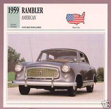 1959 Rambler American Nash AMC Car Photo Spec Sheet Info Stat French Card