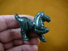 (Y-HOR-P-705) Black Green Beauty HORSE carving figurine GEMSTONE I love horses
