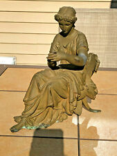 Antique Victorian Cast Spelter Statue Figurine Woman Sitting on Chair