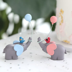 Cute Elephant Cake Topper for Wedding Birthday Party Cake Decoration Kids Favors