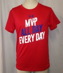 Under Armour Boys MVP All Day Every Day Graphic-Print T-Shirt Red Size Youth 4