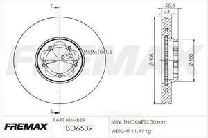Disc Brake Rotor Front Fremax BD6539