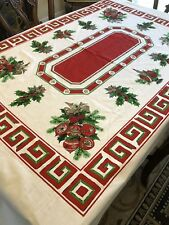 "Vintage Cotton Blend Christmas Tablecloth Bows Ornaments Holly Berries 103""X58"""