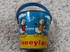 1949 Disney Tin Lithograped Candy Sand Pail w Donald Duck Huey Louie Dewey Pluto