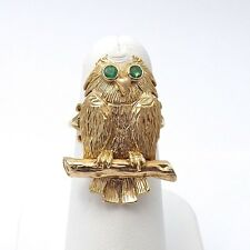 Vintage 9k 9ct Yellow Gold Emerald Eyes Perched Owl On Branch Ring Sz 5
