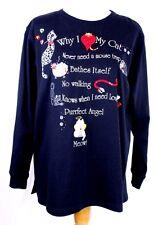 Quacker Factory Why I Love My Cat Black LS Beaded Sequin Embellished Shirt M