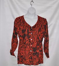 Status by Star Jones Button Front Woven Blouse Size S Red/Black