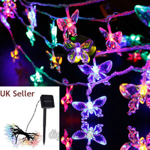 20-50 LED Solar Power Butterfly Fiber Optic Fairy String Lights Outdoor Garden