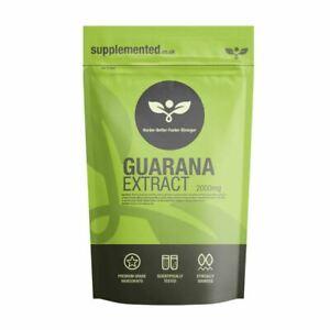 Guarana Extract 2000mg 180 Tablets Vegan Weight Loss Fatigue Energy