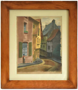 """Original c.1921 Post WWI Painting - Signed """"G.H."""" - Germany - Early Surrealism"""