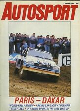 AUTOSPORT Jan 7th 1988 * World Rally STAGIONE REVIEW *