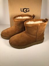 UGG Classic Mini Waterproof Chestnut Size 8.5 Suede Sheepskin Boots 1019643