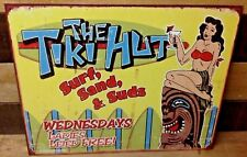 Tiki Hut Retro Metal Tin Sign Tropical Bar Surf Beach Party Lounge Funny Decor