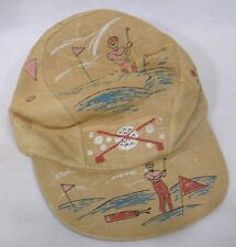 Vintage Golf Cap Golfing Imagery on 1950s Loose Weave Cap