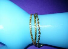 3 Chains Each 7.5 Inches Long Bracelets Gold Tone Metal Lot Of