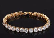 Stunning Yellow Gold Filled Simulated Diamond Tennis Bracelet 18cm