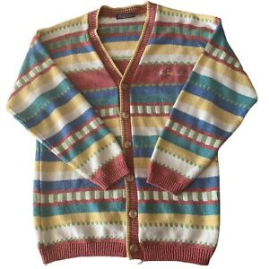 Vintage The Sweater Shop Multicoloured Striped Cardigan Size S/M Small / Medium
