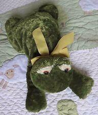 "Mary Meyer Sweet Rascals Plush Stuffed Green Frog w Yellow Ribbon Bow EUC 9"""